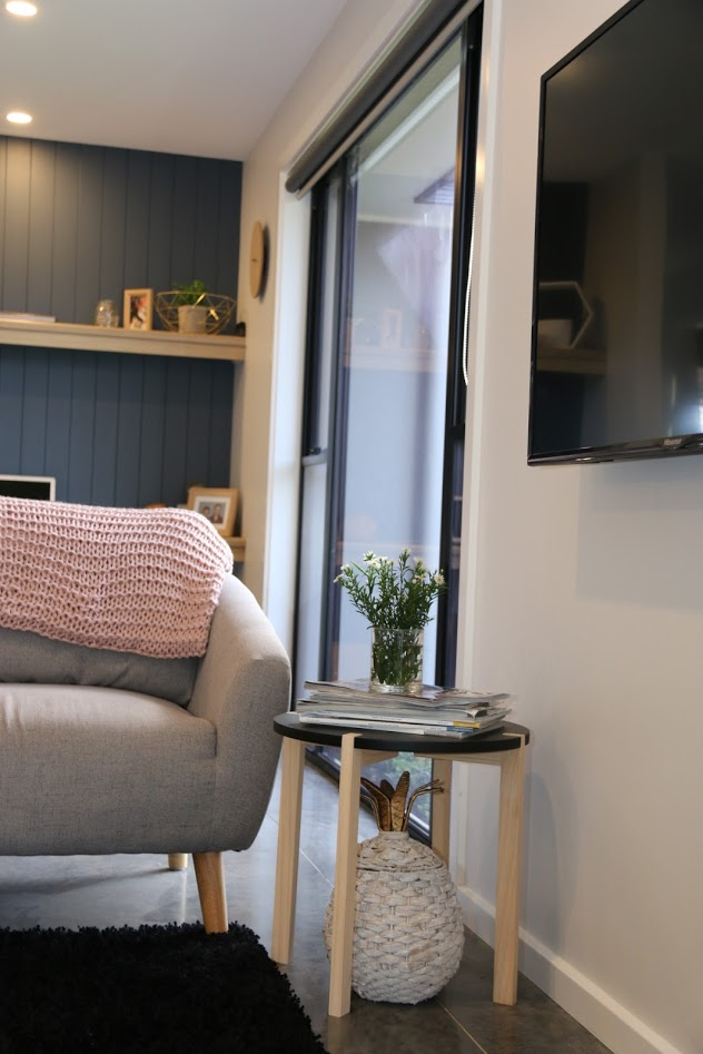 With polished concrete soaking up the sun, this is a lovely are for a study nook.  TV areas in open plan living are easy to access from anywhere.